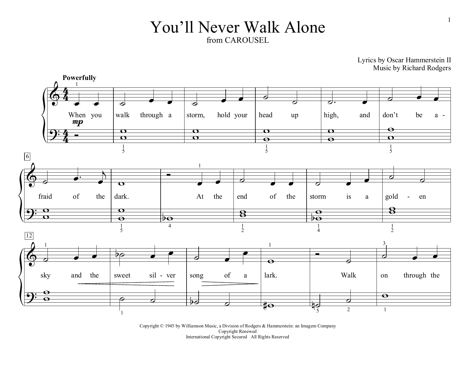 You'll Never Walk Alone (from Carousel) (arr. Christopher Hussey) (Educational Piano)