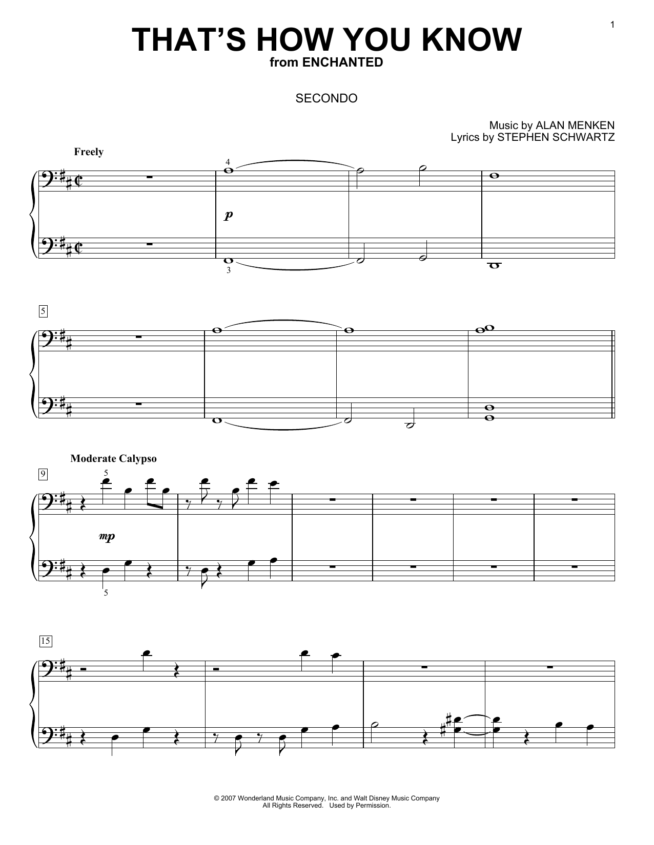 That's How You Know (from Enchanted) (Piano Duet)