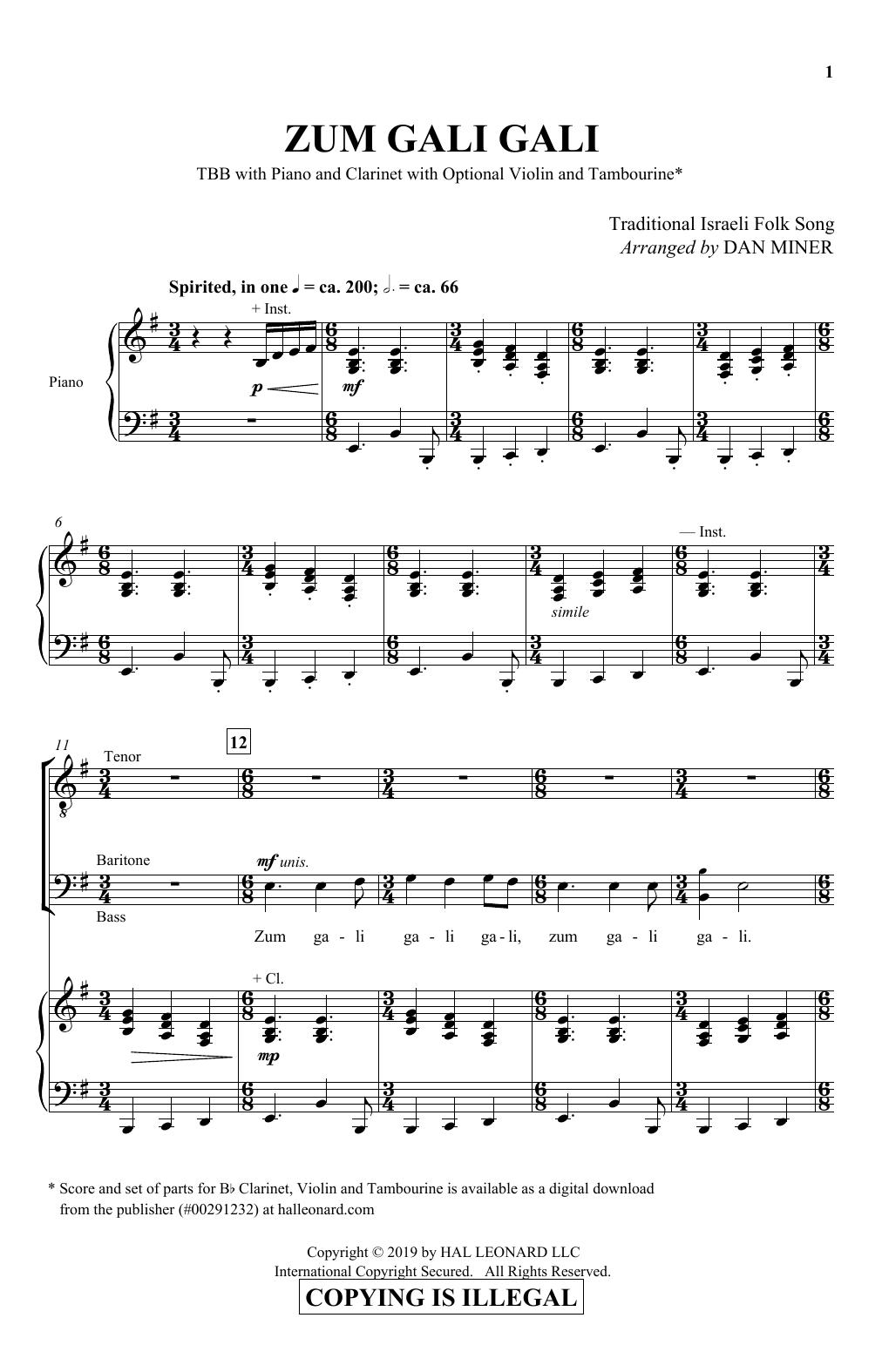 Zum Gali Gali (TBB Choir)