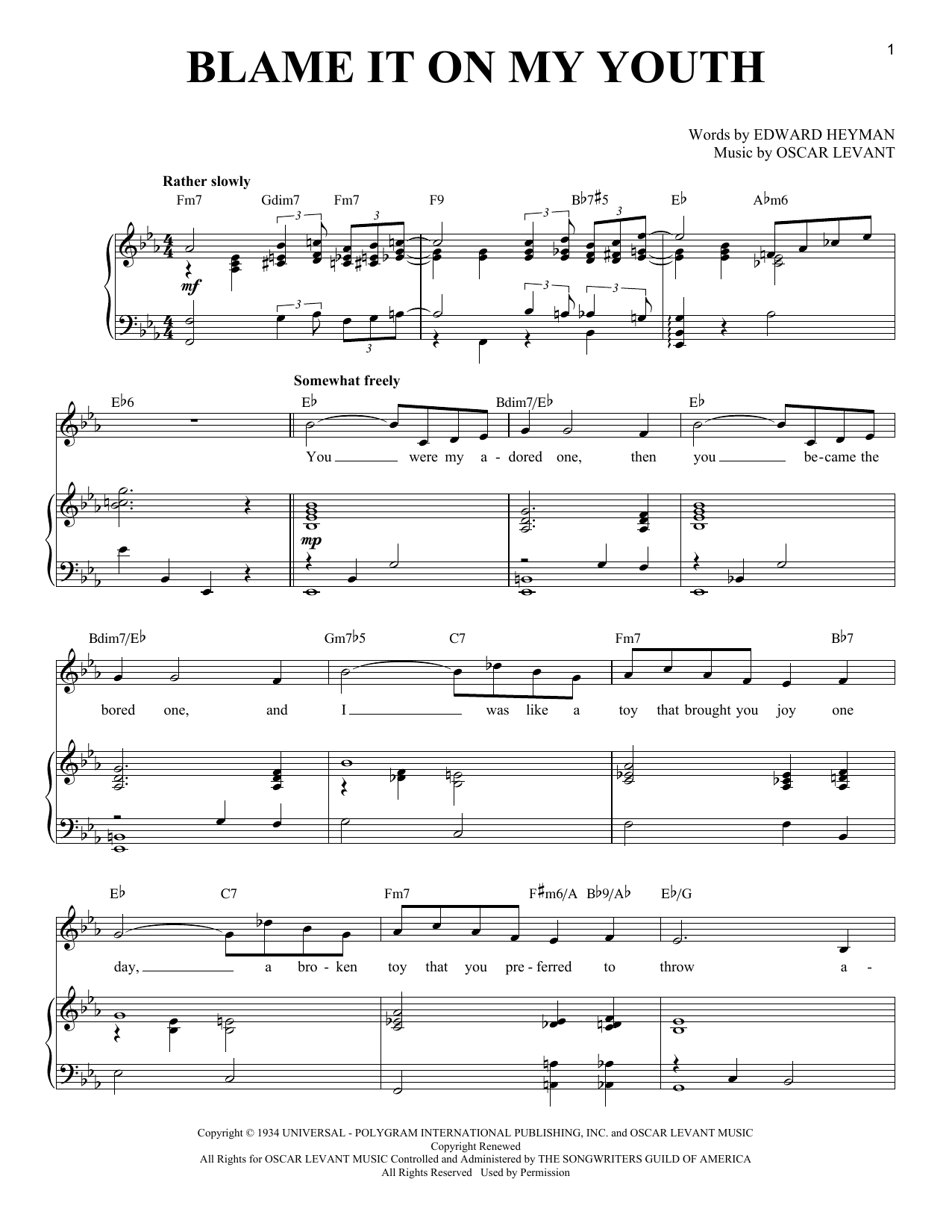 Blame It On My Youth (Piano & Vocal)