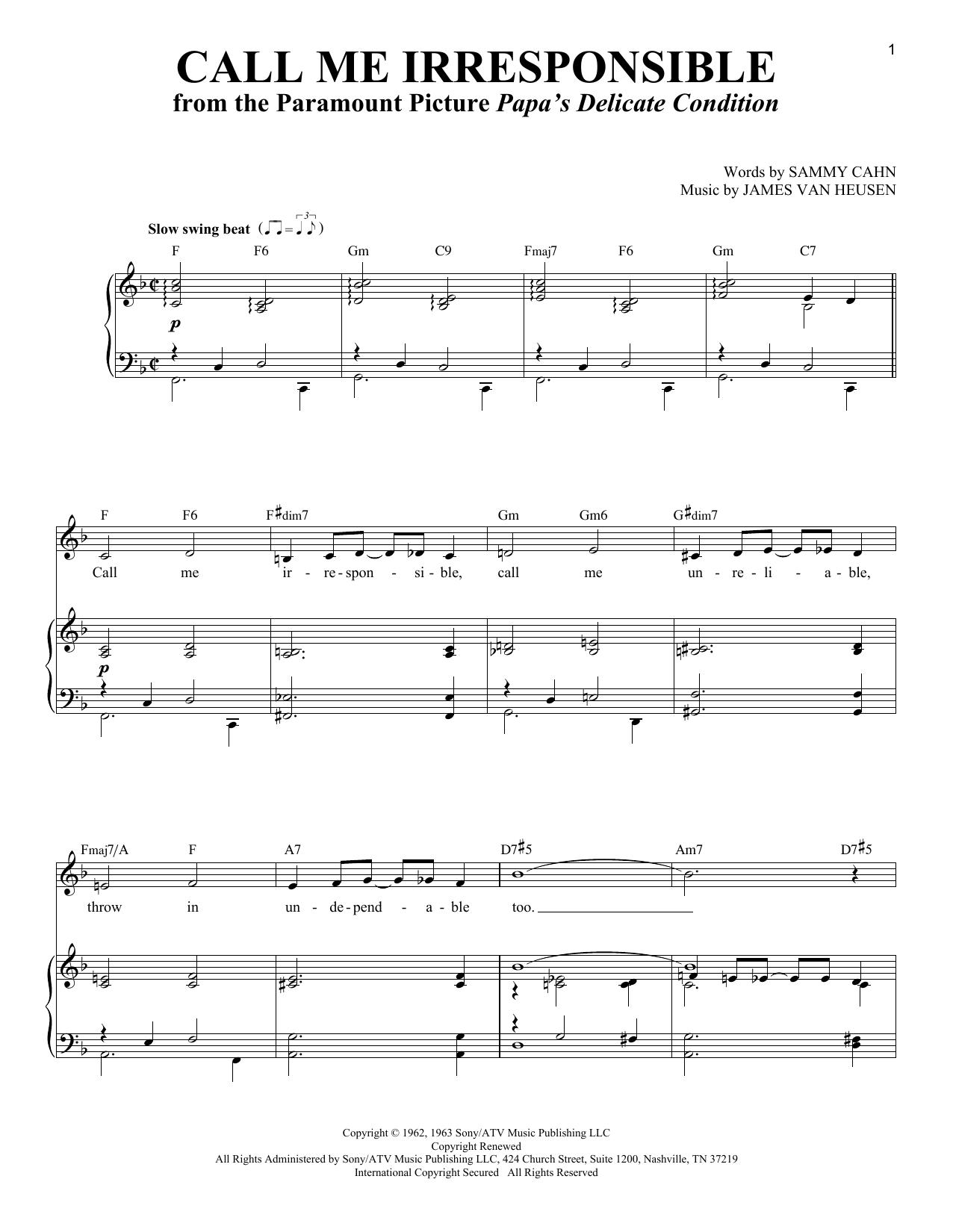 Call Me Irresponsible (Piano & Vocal)