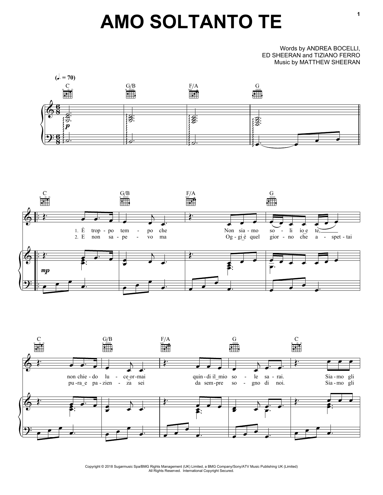 Amo soltanto te (feat. Ed Sheeran) (Piano, Vocal & Guitar (Right-Hand Melody))