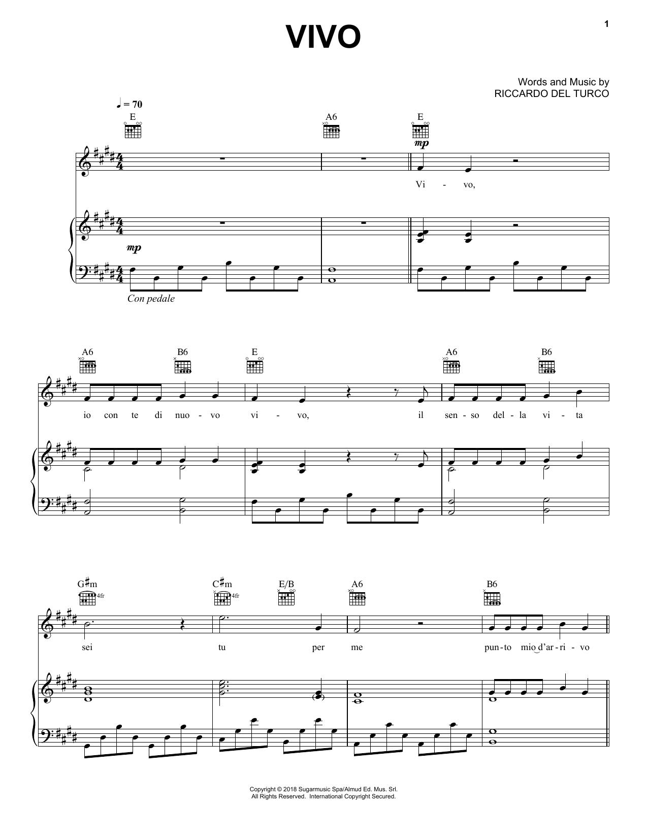 Vivo (Piano, Vocal & Guitar (Right-Hand Melody))