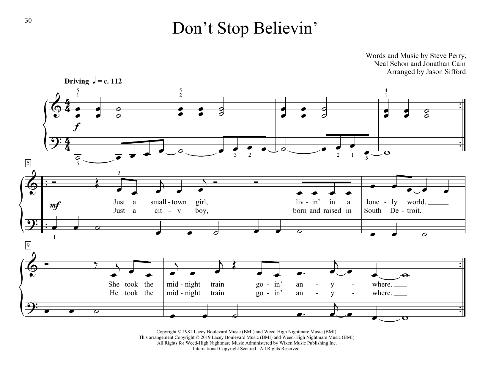 Don't Stop Believin' (arr. Jason Sifford) (Educational Piano)