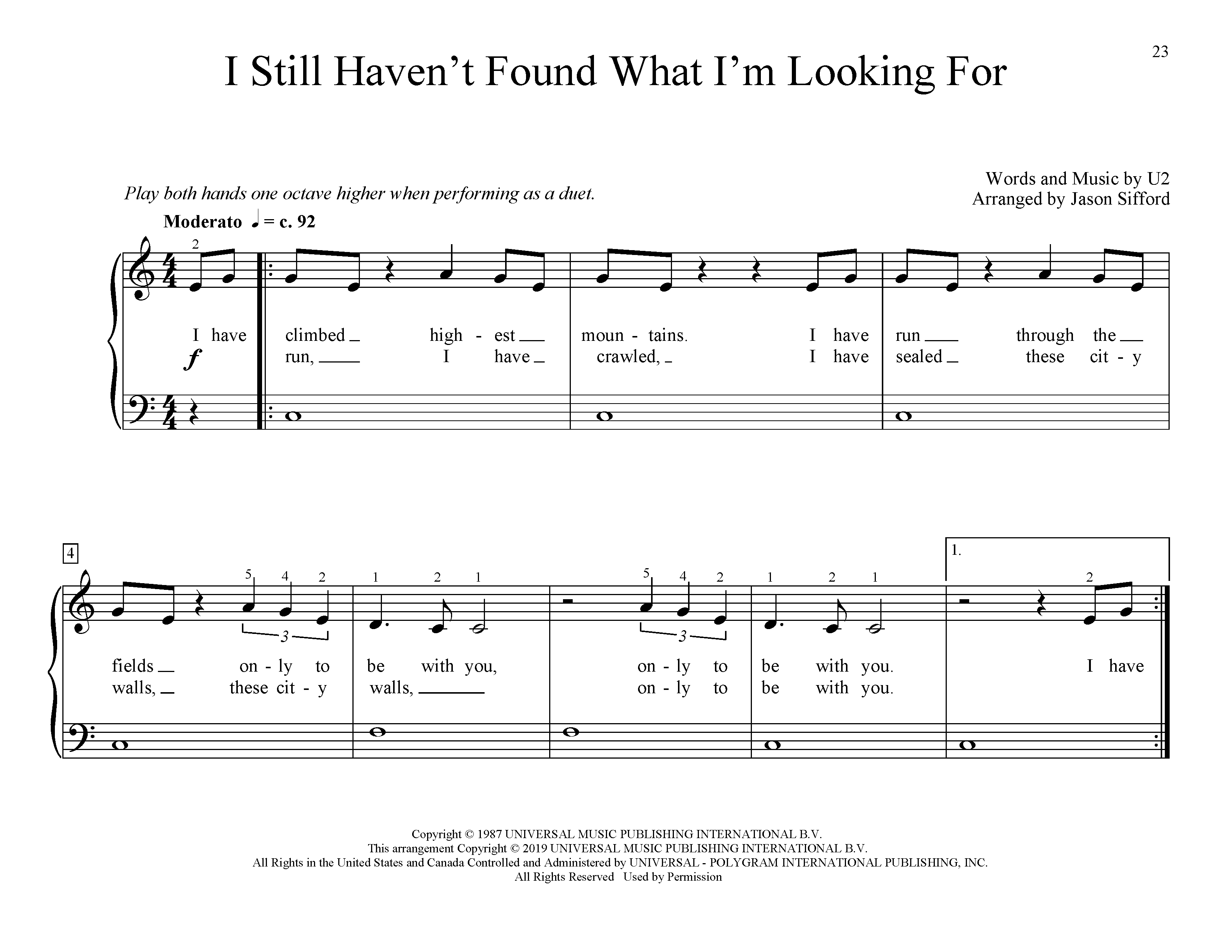 I Still Haven't Found What I'm Looking For (arr. Jason Sifford) (Educational Piano)