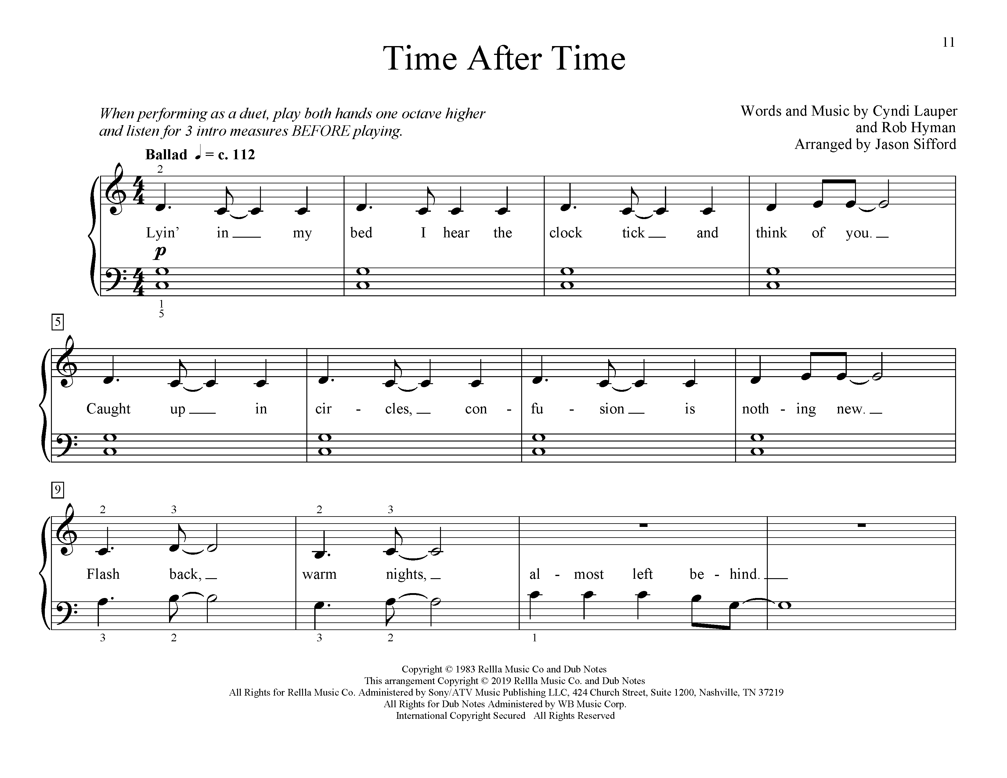 Time After Time (arr. Jason Sifford) (Educational Piano)