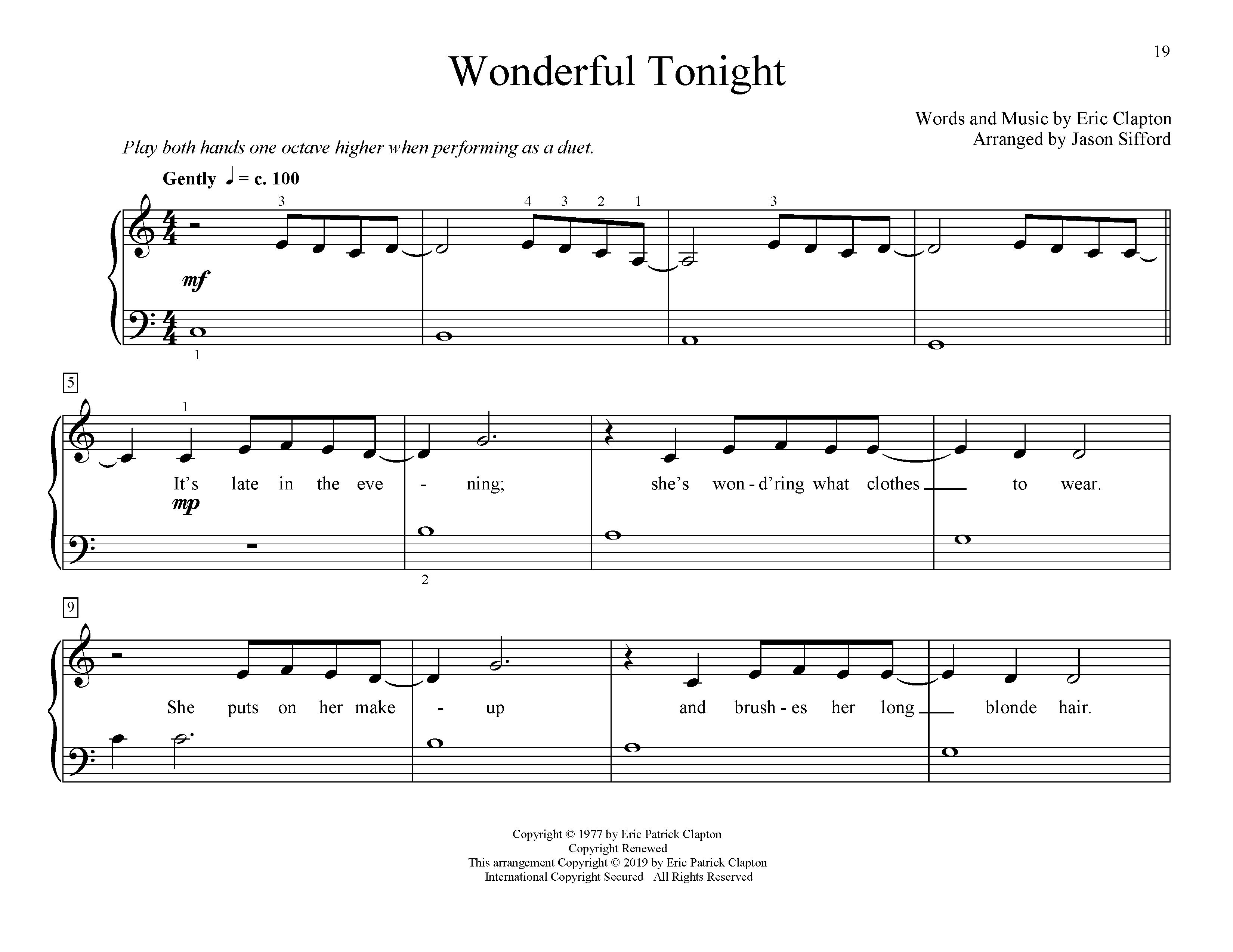 Wonderful Tonight (arr. Jason Sifford) (Educational Piano)