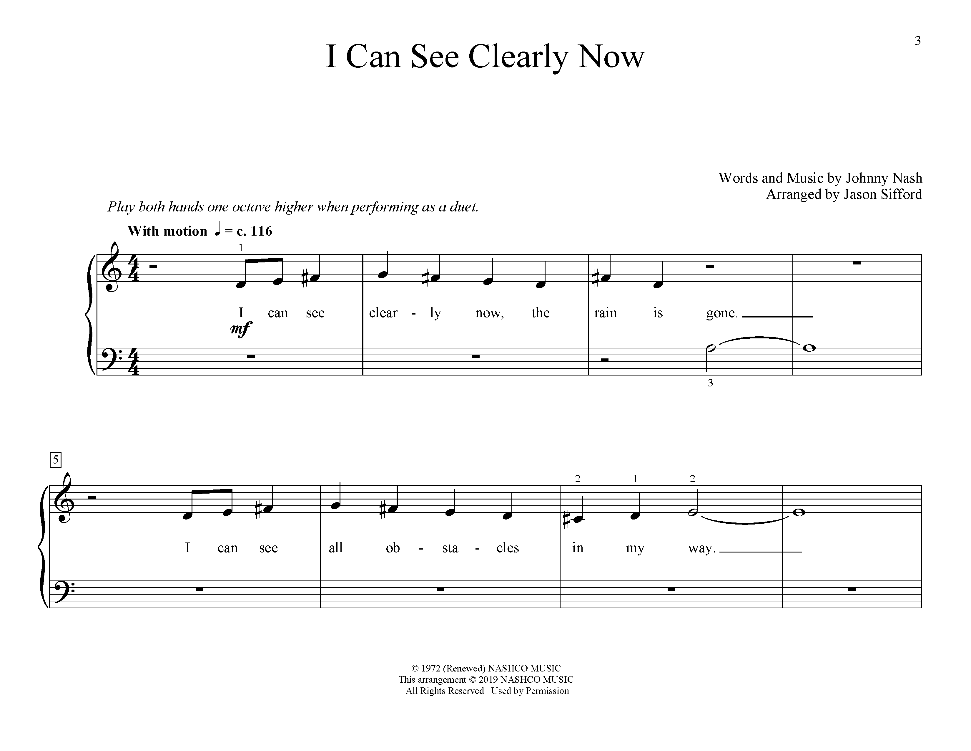 I Can See Clearly Now (arr. Jason Sifford) (Educational Piano)
