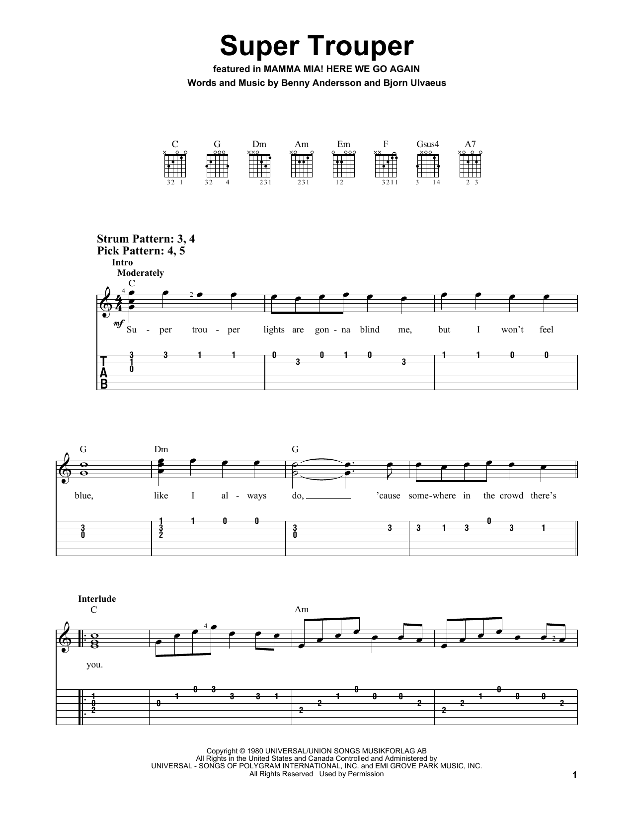 Super Trouper (from Mamma Mia! Here We Go Again) (Easy Guitar Tab)