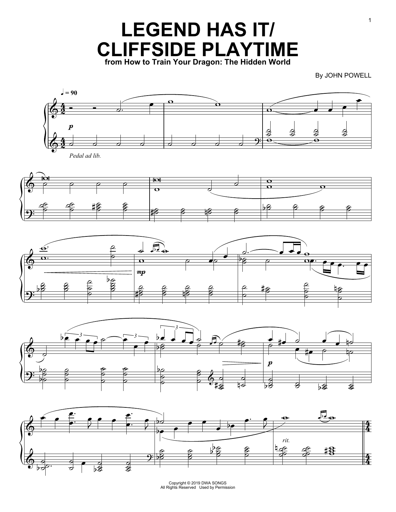 Legend Has It/Cliffside Playtime (from How to Train Your Dragon: The Hidden World) (Piano Solo)