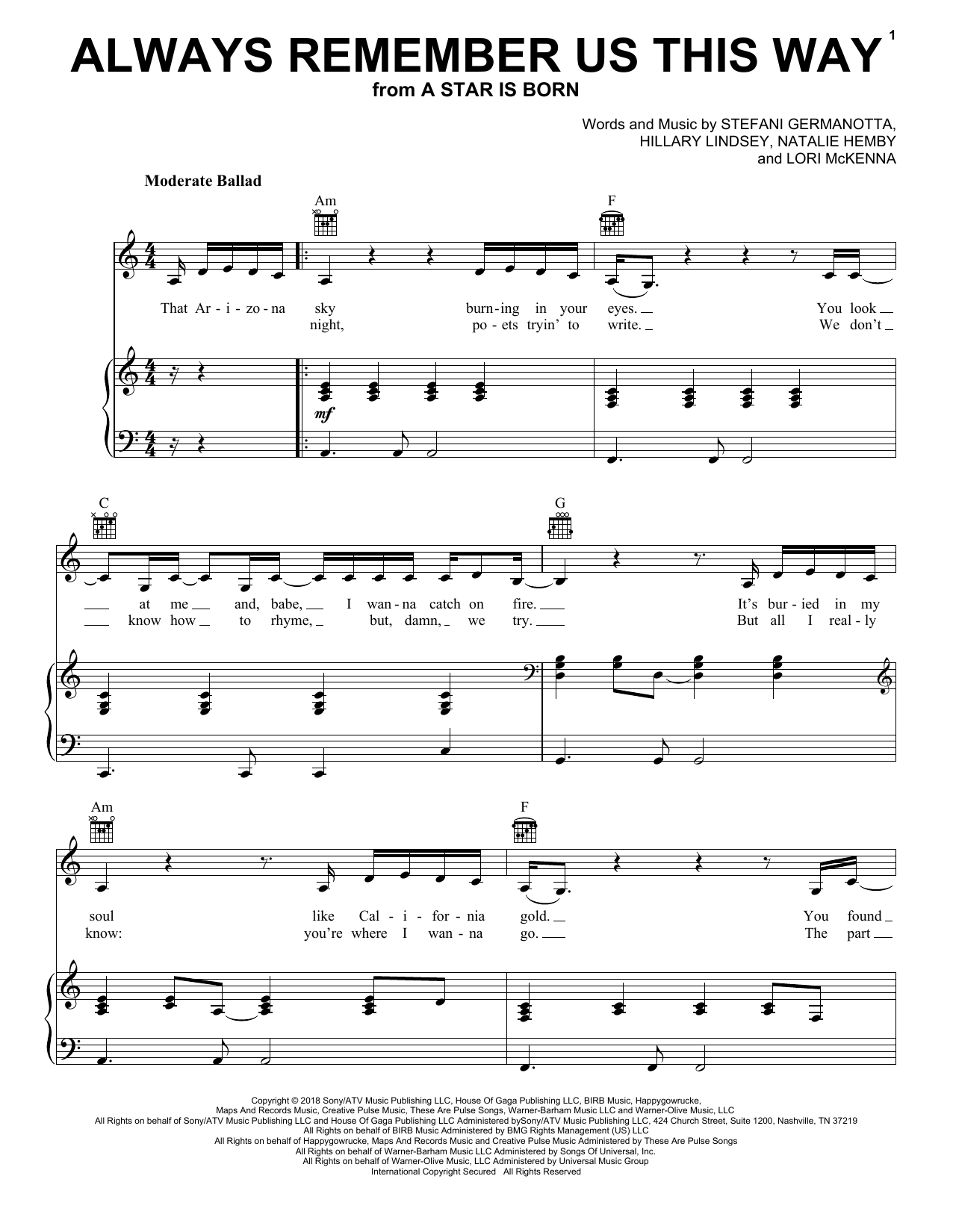 Partition piano Always Remember Us This Way (from A Star Is Born) de Lady Gaga - Piano Voix