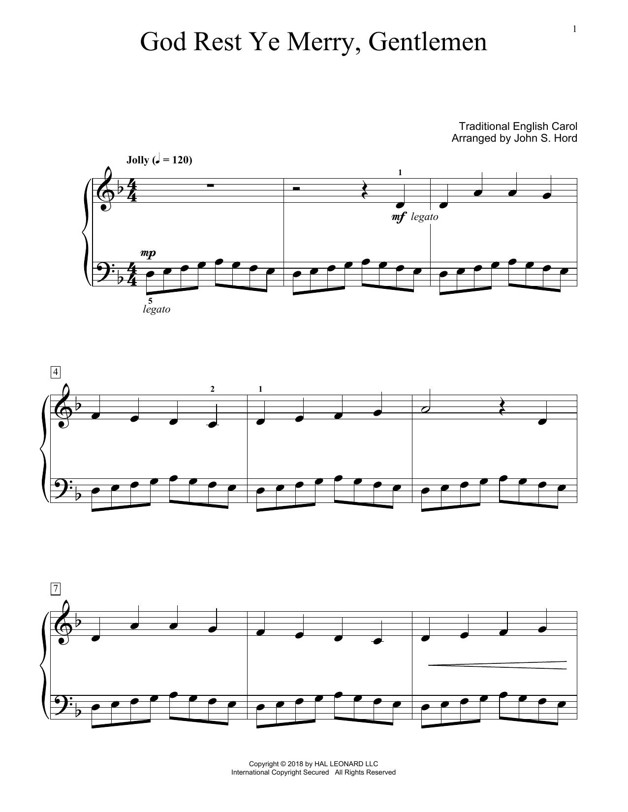 God Rest Ye Merry, Gentlemen (arr. John S. Hord) (Educational Piano)