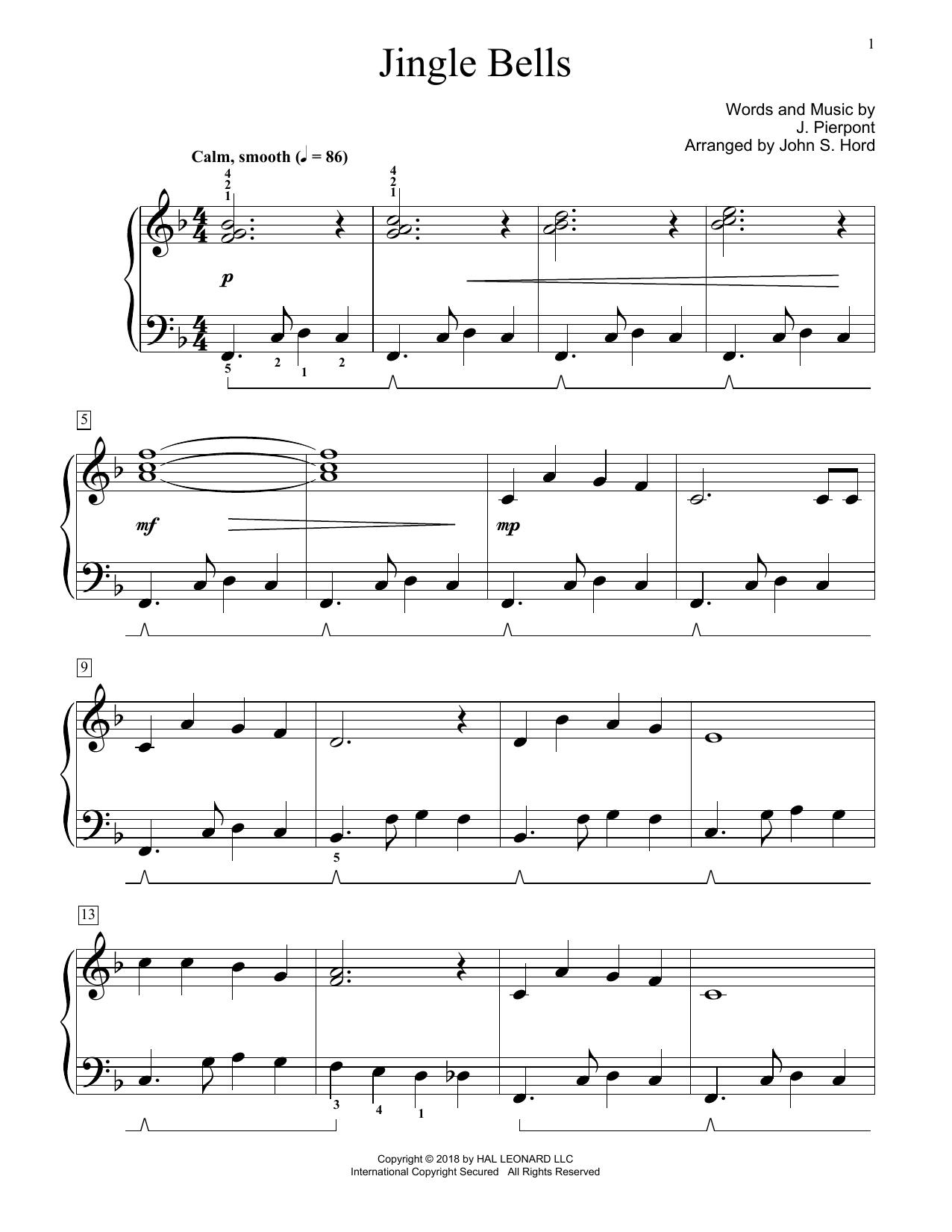 Jingle Bells (arr. John S. Hord) (Educational Piano)