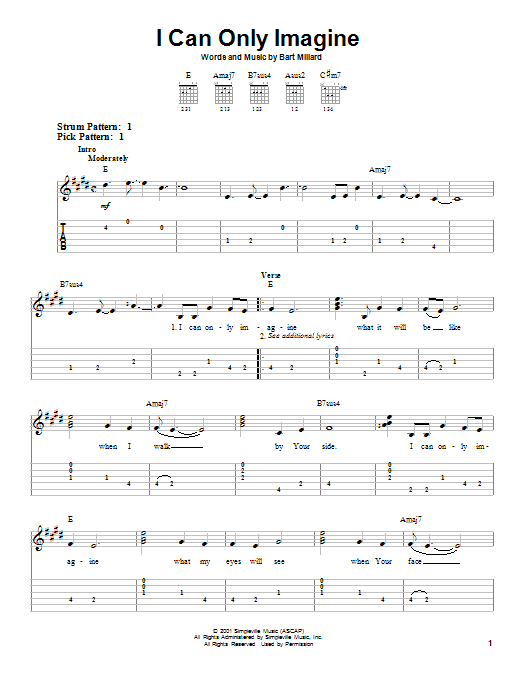 I Can Only Imagine By Mercyme Easy Guitar Tab Guitar Instructor