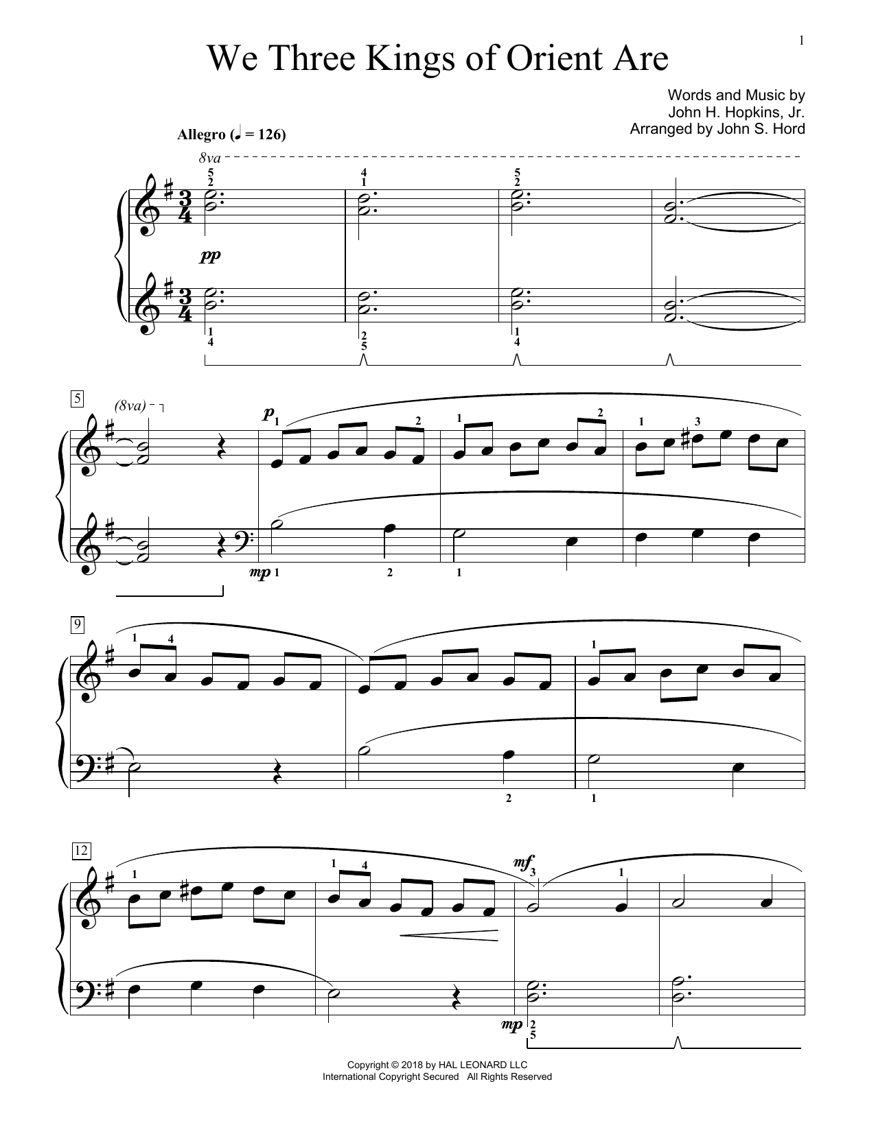 We Three Kings Of Orient Are (arr. John S. Hord) (Educational Piano)