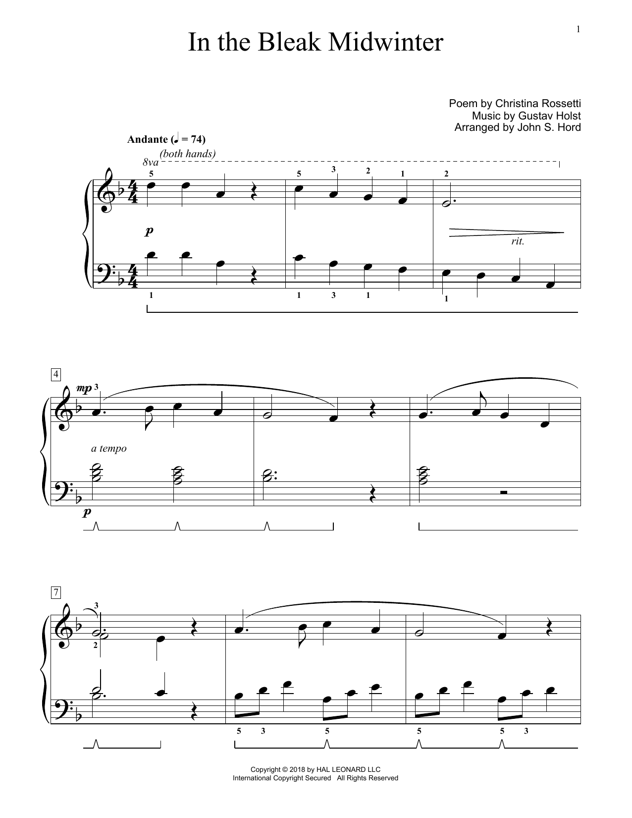 In The Bleak Midwinter (arr. John S. Hord) (Educational Piano)