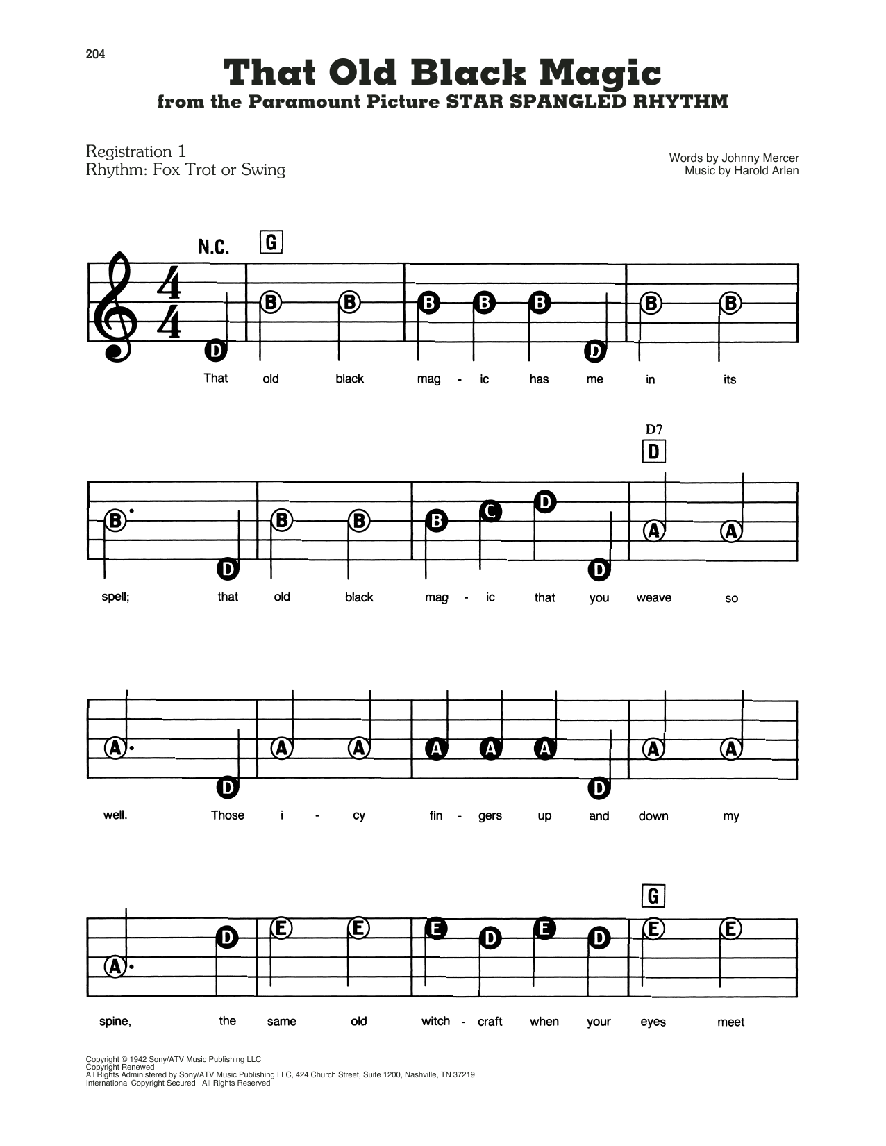 That Old Black Magic (from Star Spangled Rhythm) (E-Z Play Today)