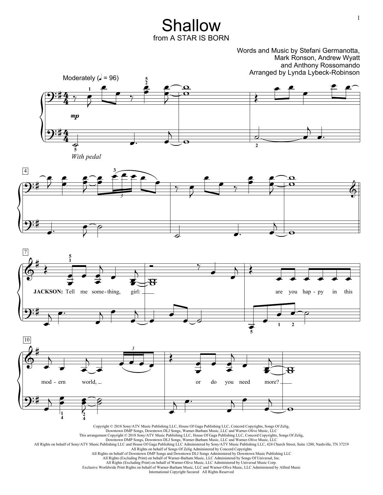 Shallow (from A Star Is Born) (arr. Lynda Lybeck-Robinson) (Educational Piano)