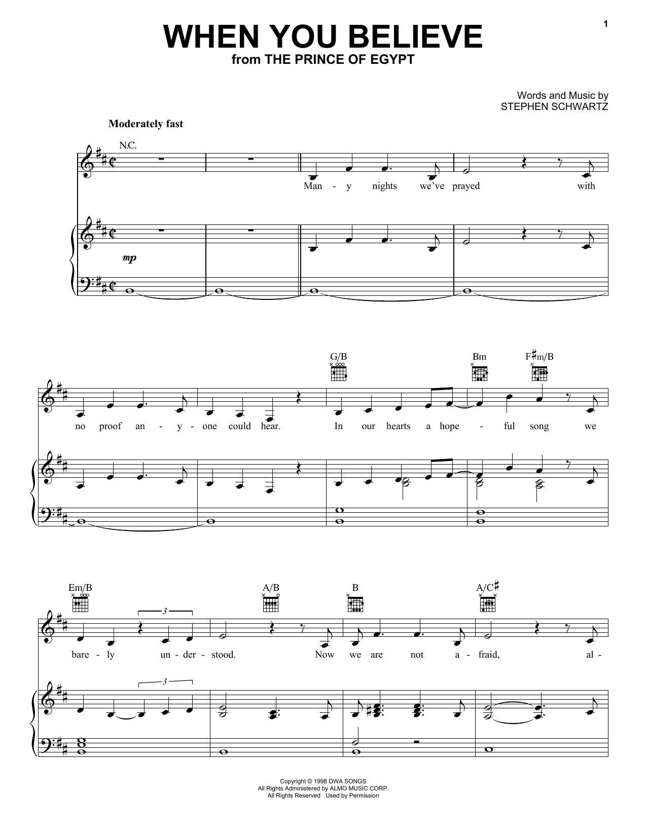 When You Believe (from The Prince Of Egypt) (Piano, Vocal & Guitar (Right-Hand Melody))