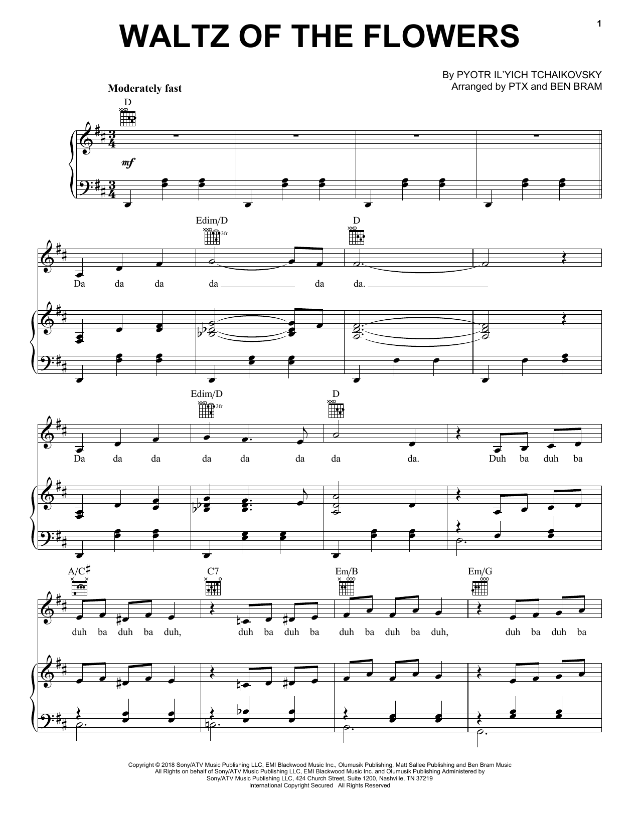 Waltz Of The Flowers (Piano, Vocal & Guitar (Right-Hand Melody))