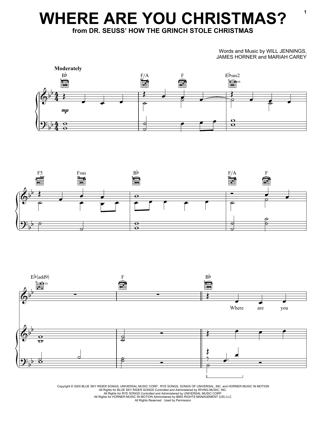 Where Are You Christmas? (from How the Grinch Stole Christmas) (Piano, Vocal & Guitar (Right-Hand Melody))