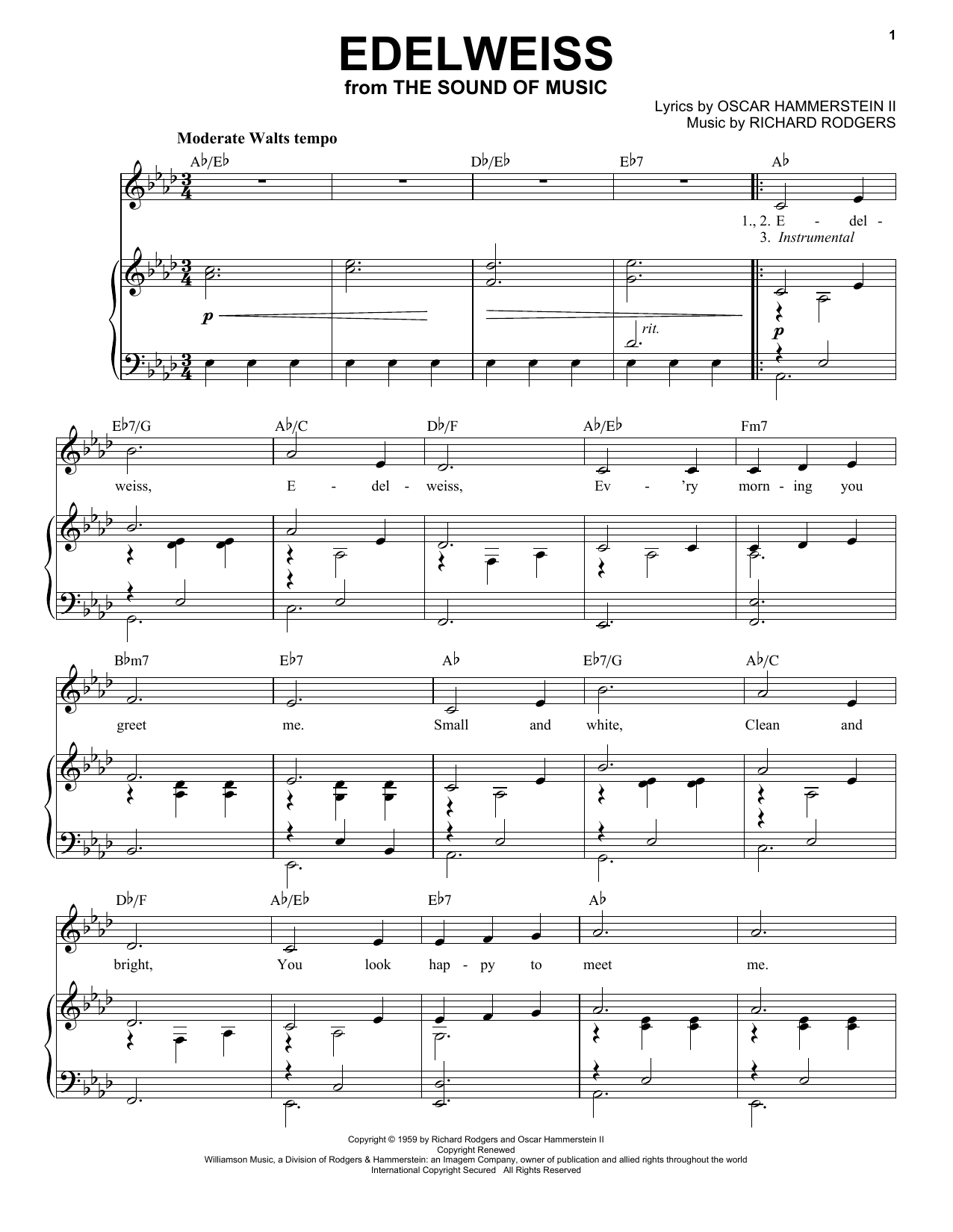 Edelweiss (from The Sound of Music) (Piano & Vocal)