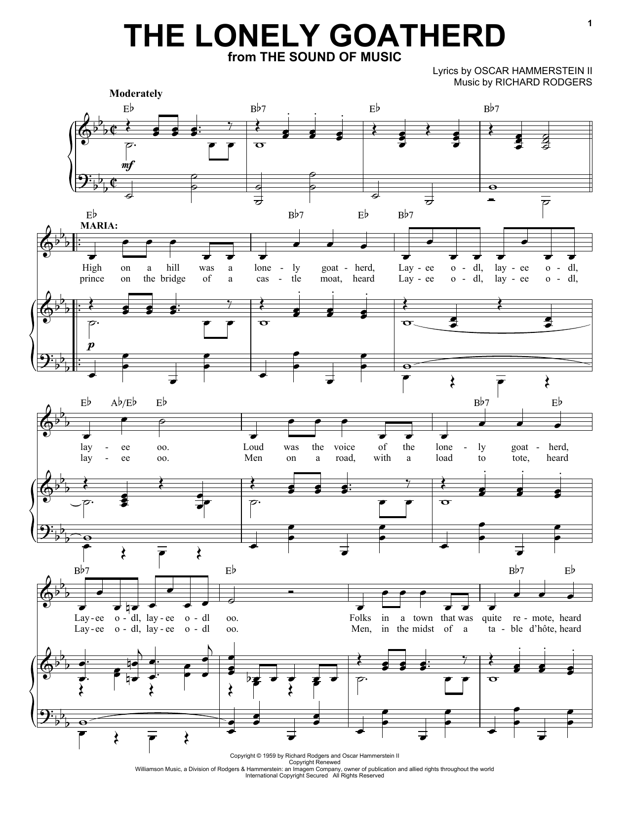The Lonely Goatherd (from The Sound of Music) (Piano & Vocal)