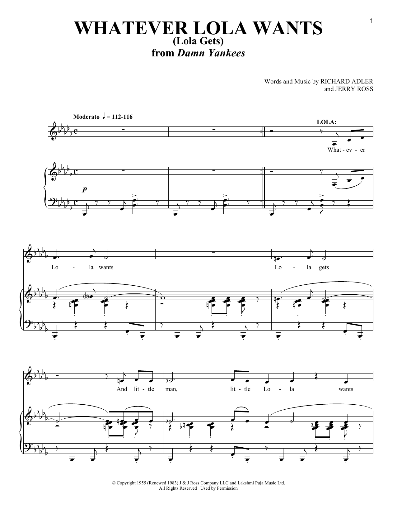 Whatever Lola Wants (Lola Gets) (Piano & Vocal)