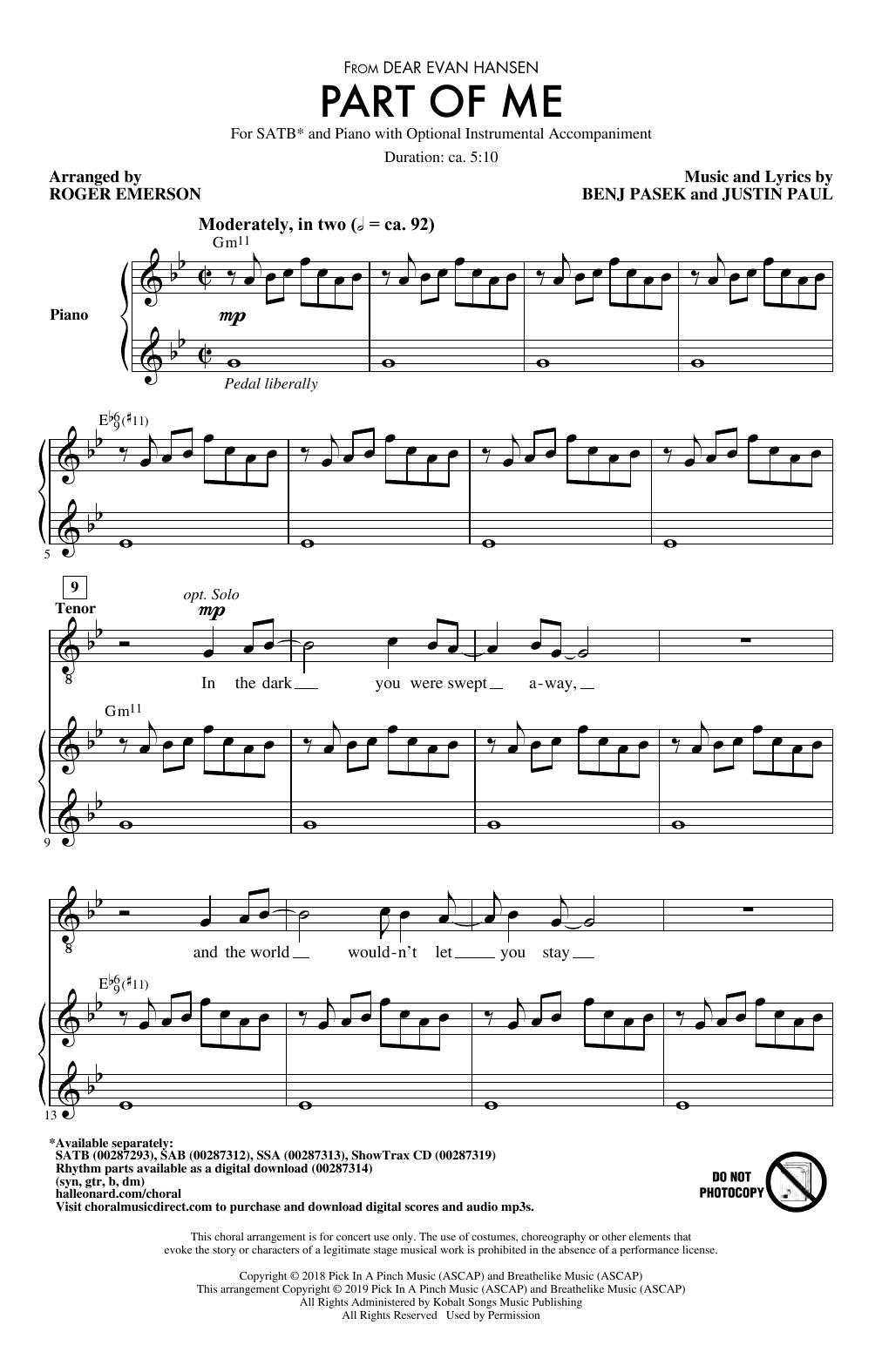 Part Of Me (from Dear Evan Hansen) (arr. Roger Emerson) (SATB Choir)