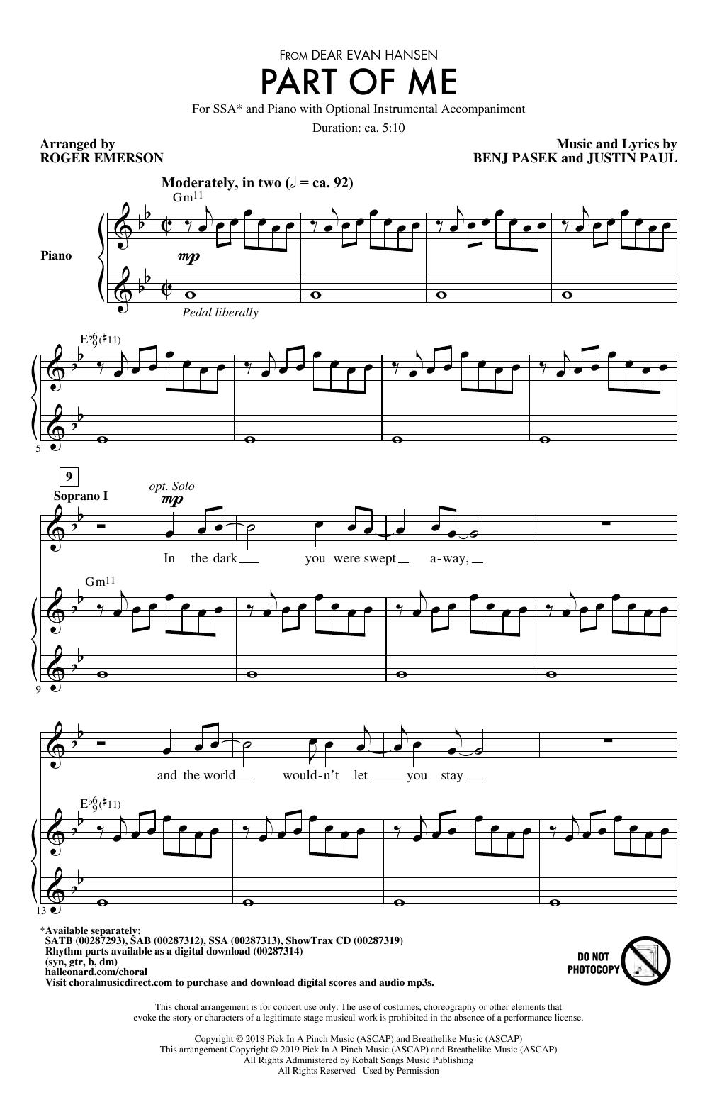 Part Of Me (from Dear Evan Hansen) (arr. Roger Emerson) Sheet Music