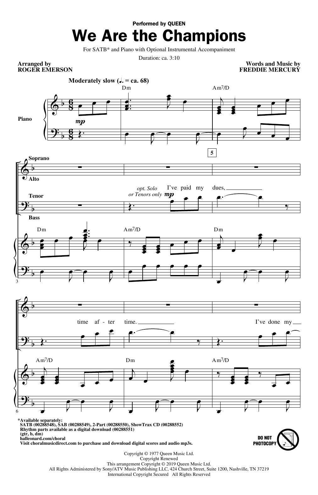 We Are The Champions (arr. Roger Emerson) (SATB Choir)
