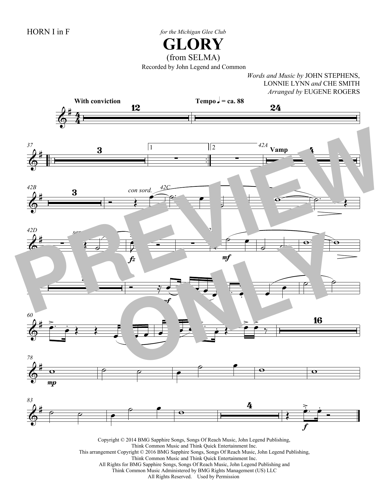 Glory (from Selma) (arr. Eugene Rogers) - Score (Choir Instrumental Pak)