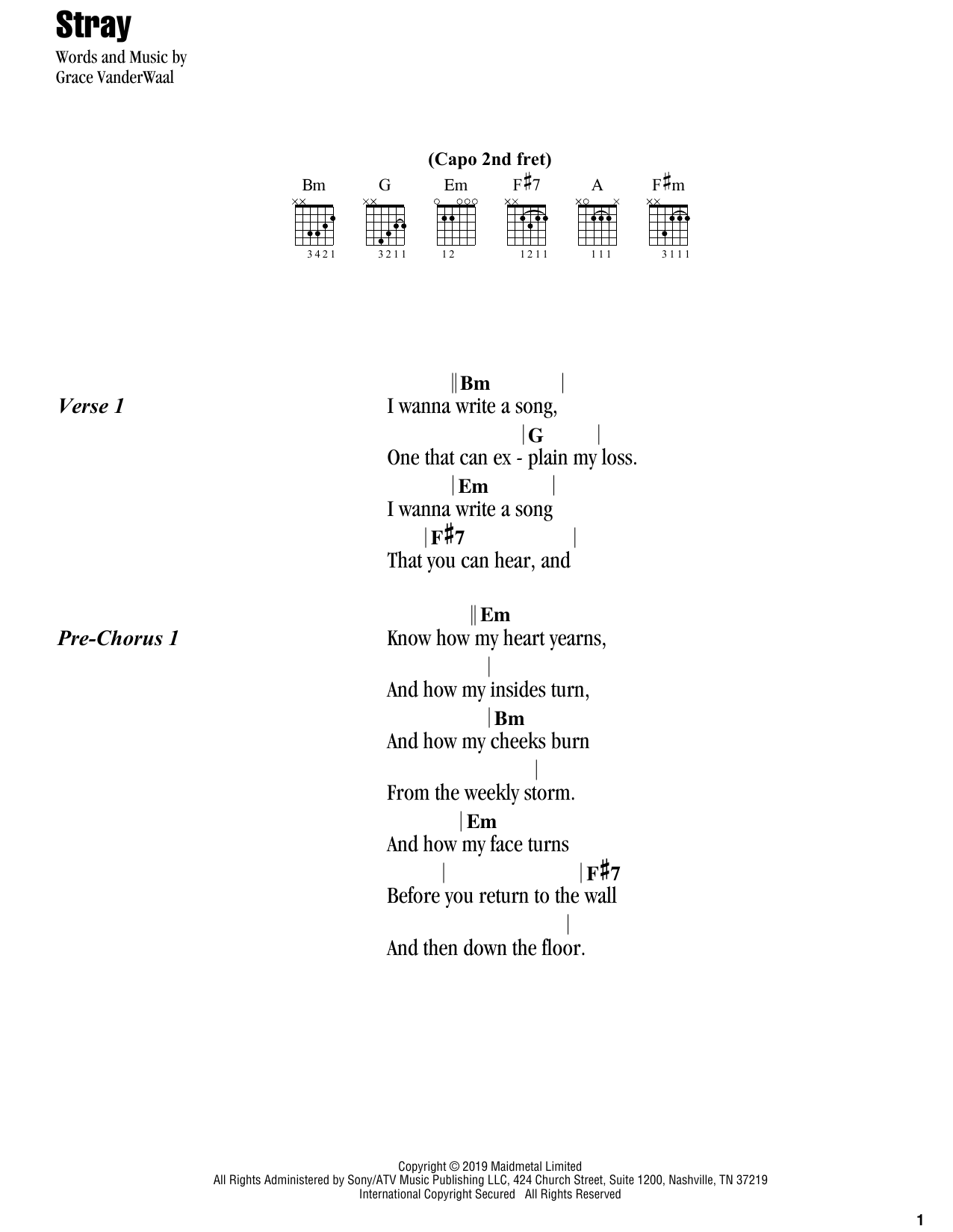 Stray (Guitar Chords/Lyrics)