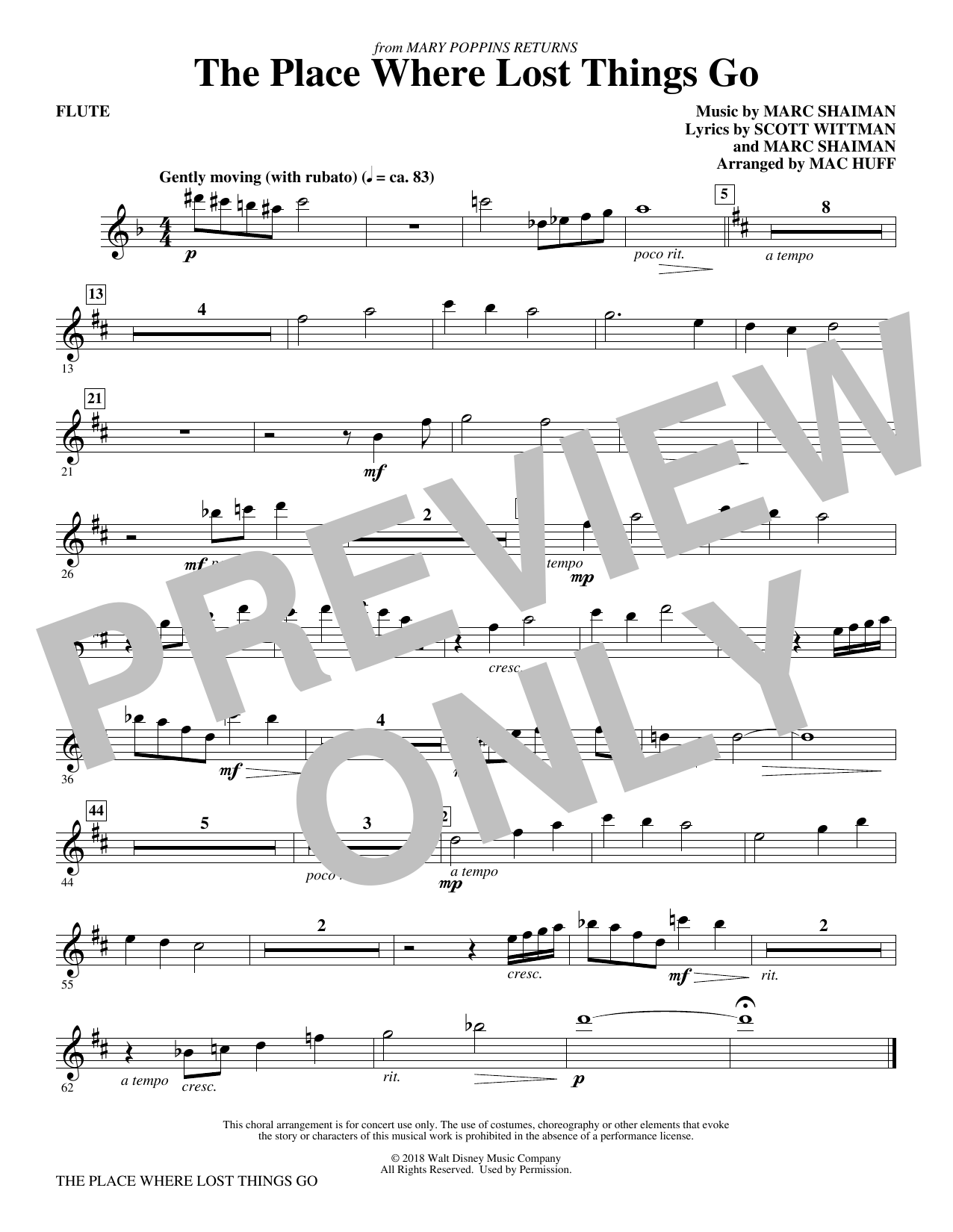 The Place Where Lost Things Go (from Mary Poppins Returns) (arr. Mac Huff) - Flute (Choir Instrumental Pak)
