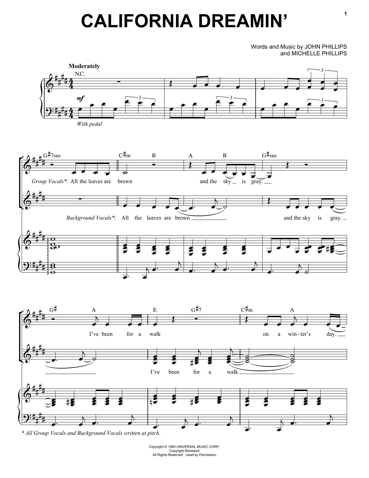 California Dreamin' (Piano & Vocal)