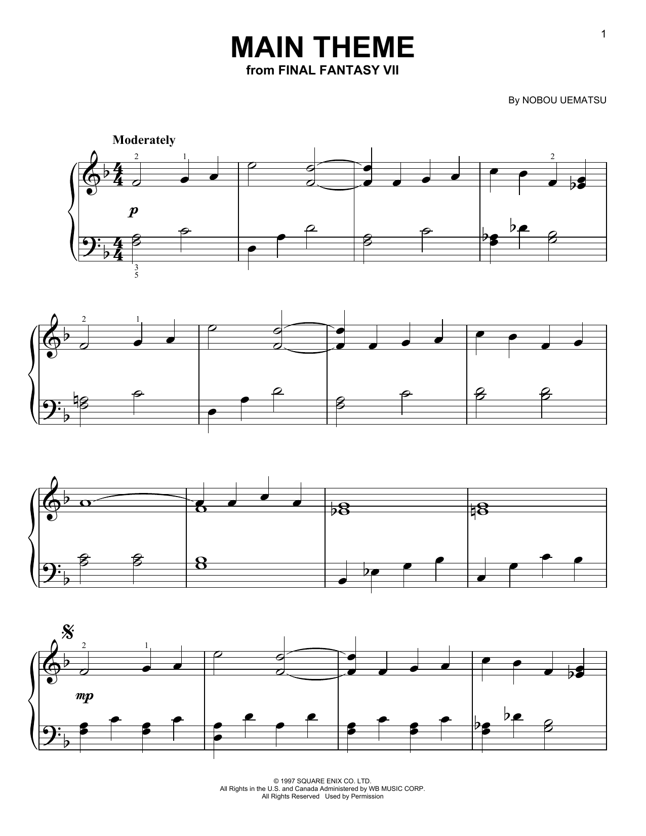 Main Theme (from Final Fantasy VII) (Easy Piano)