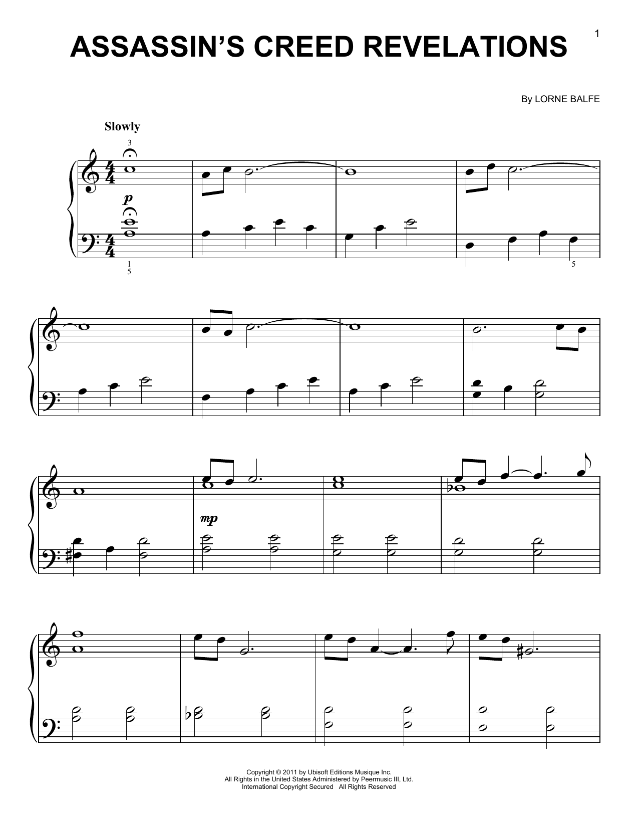 Assassin's Creed Revelations (Easy Piano)