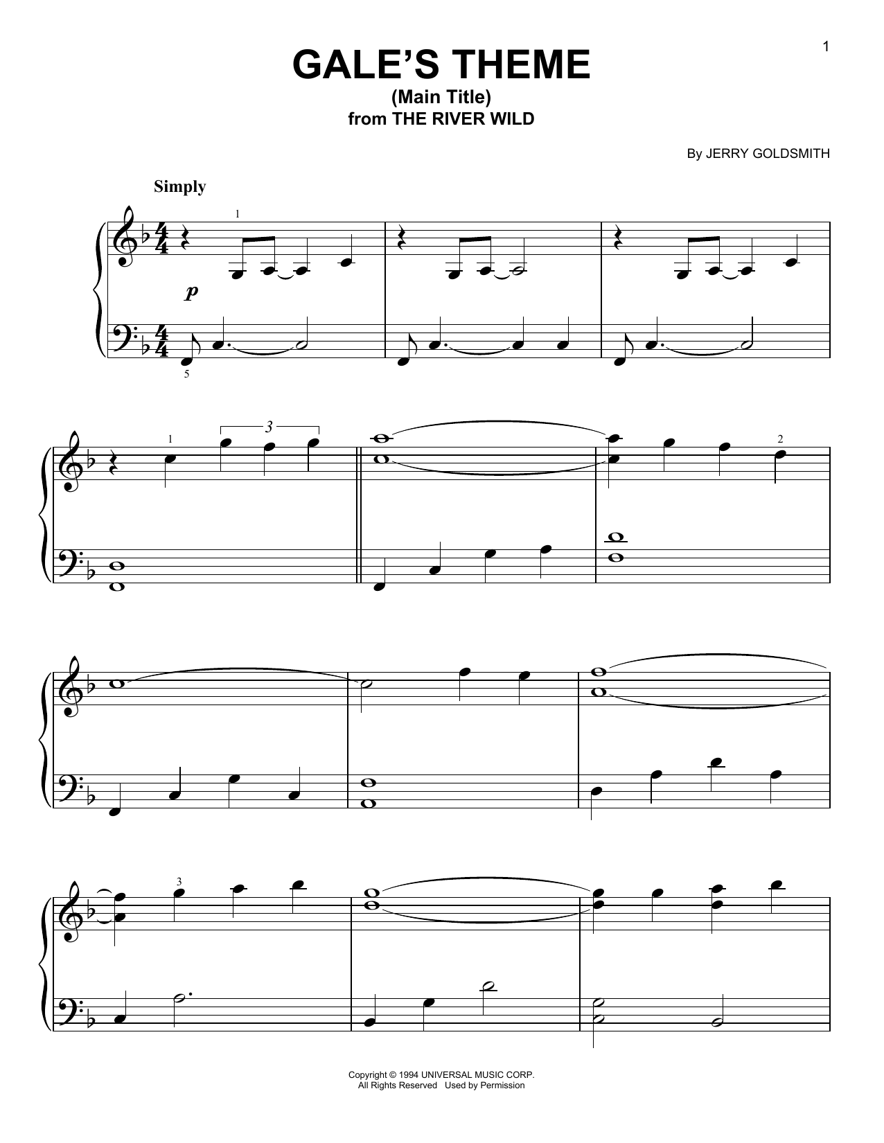 Gale's Theme (Main Title) (Easy Piano)
