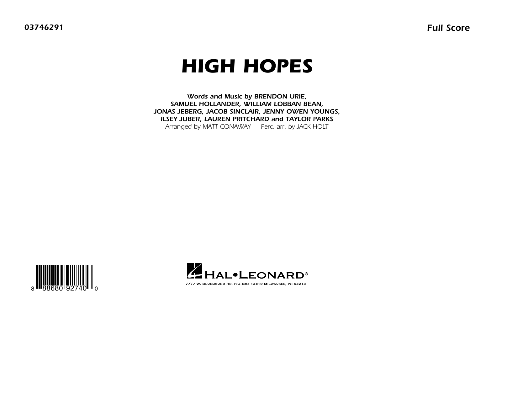 High Hopes (arr. Matt Conaway) - Conductor Score (Full Score) (Marching Band)