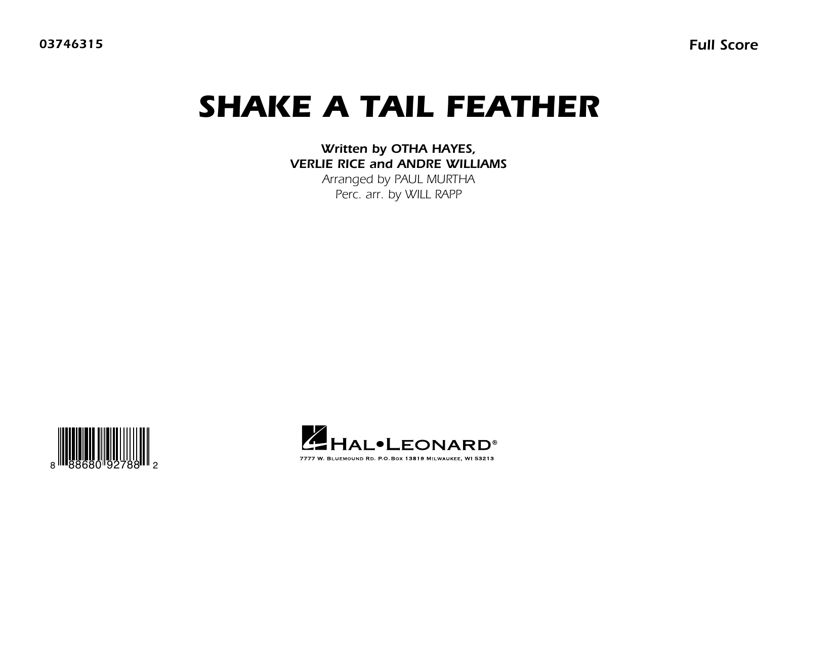 Shake a Tail Feather (arr. Paul Murtha) - Conductor Score (Full Score) (Marching Band)