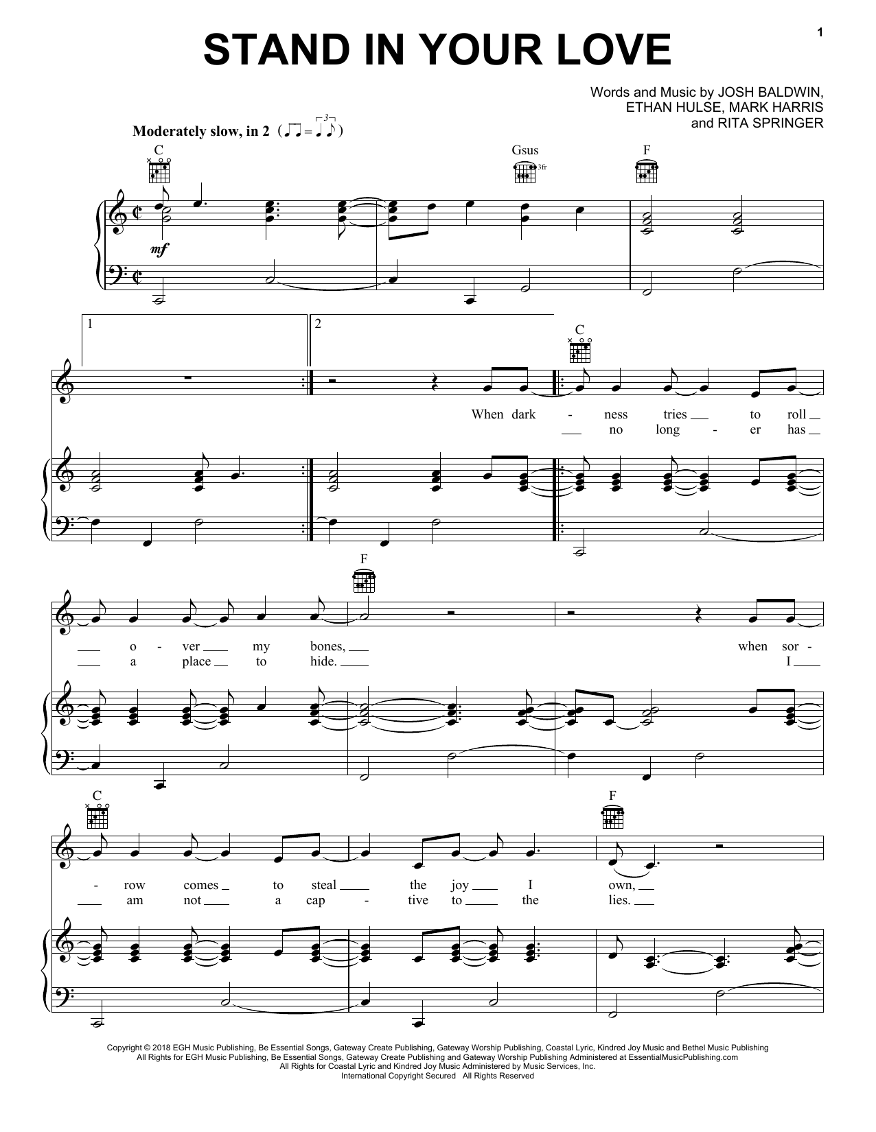 Stand In Your Love (Piano, Vocal & Guitar (Right-Hand Melody))