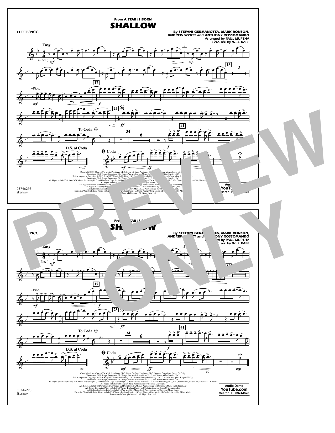 Shallow (from A Star Is Born) (arr. Paul Murtha) - Flute/Piccolo (Marching Band)