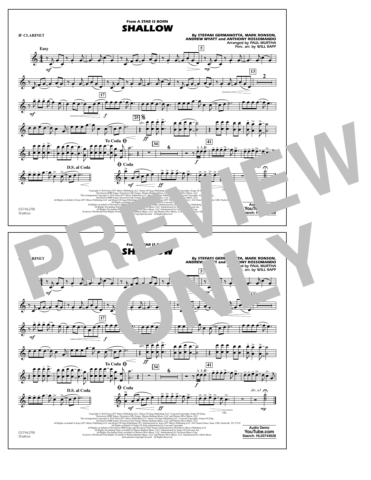 Shallow (from A Star Is Born) (arr. Paul Murtha) - Bb Clarinet (Marching Band)
