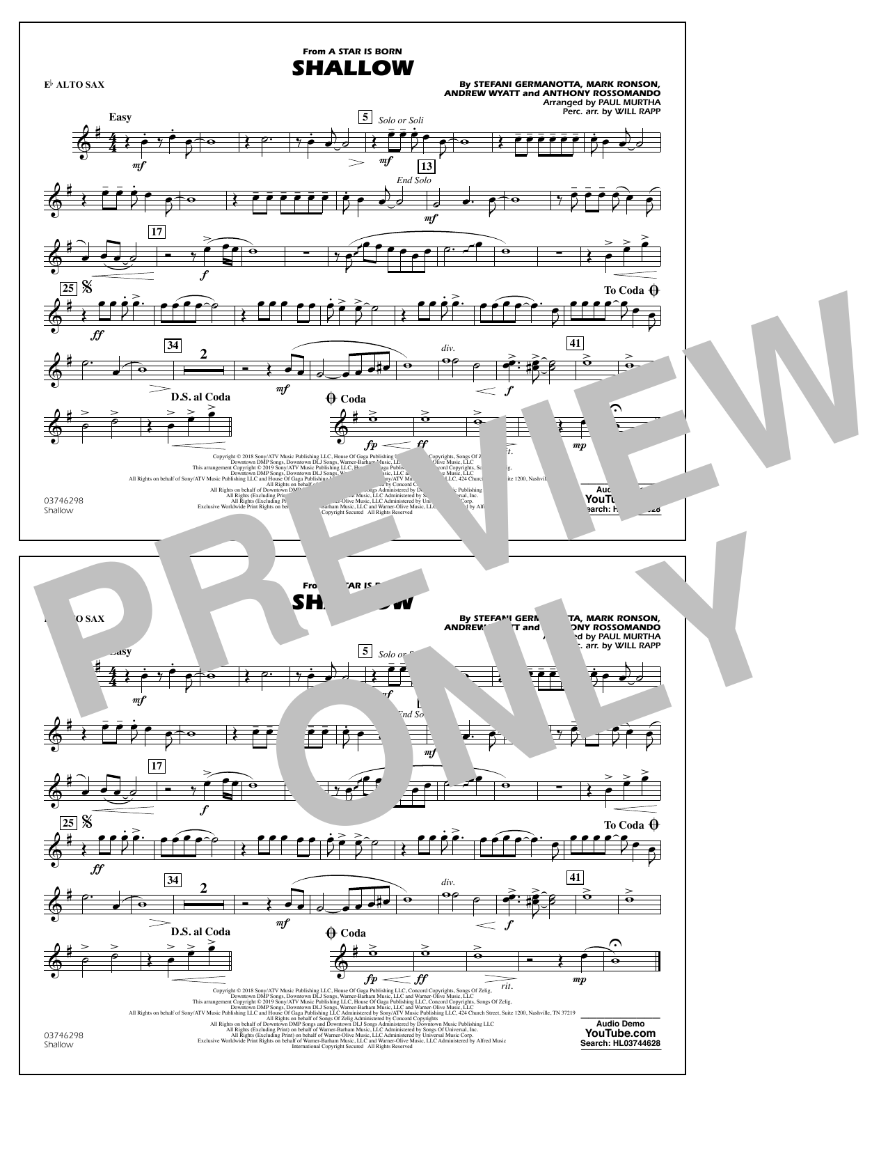 Shallow (from A Star Is Born) (arr. Paul Murtha) - Eb Alto Sax (Marching Band)