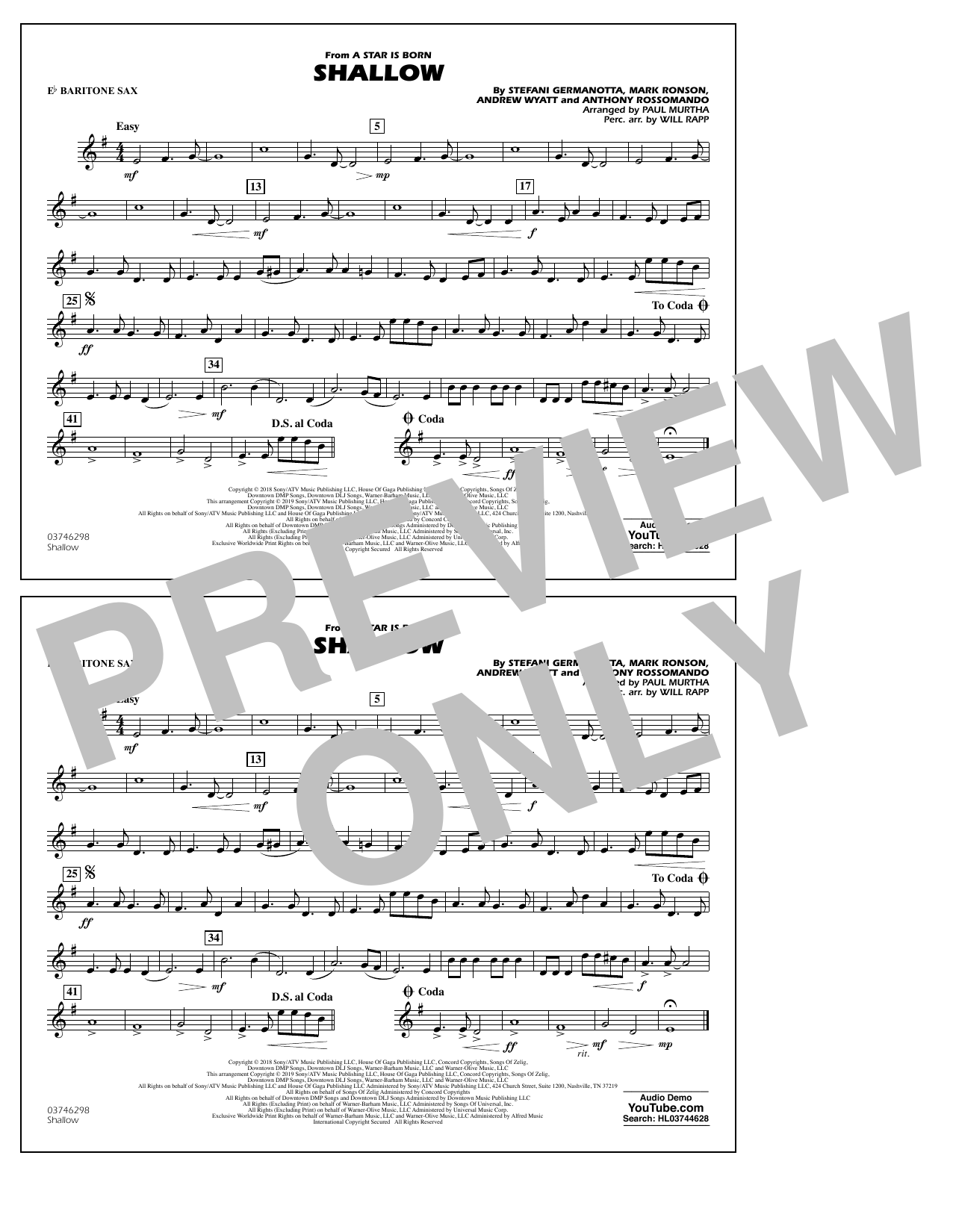 Shallow (from A Star Is Born) (arr. Paul Murtha) - Eb Baritone Sax (Marching Band)