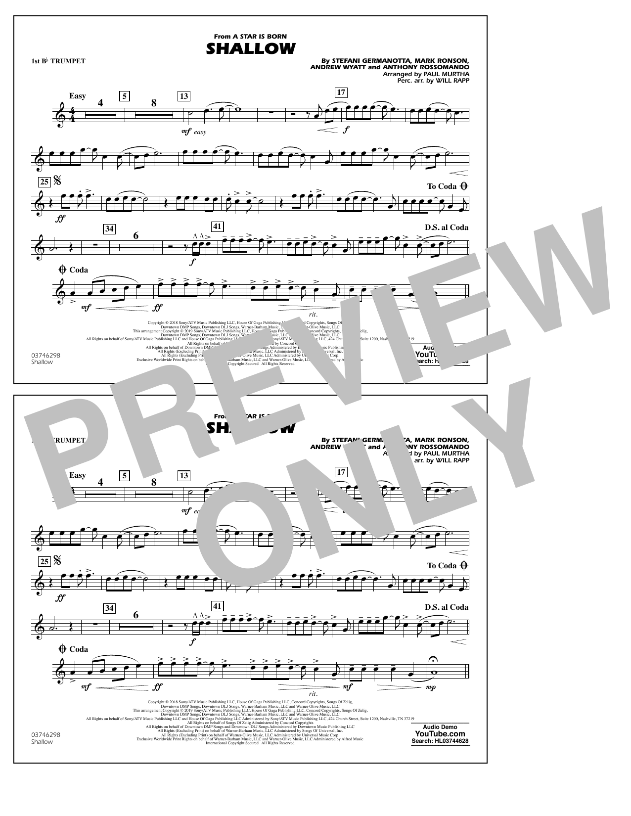 Shallow (from A Star Is Born) (arr. Paul Murtha) - 1st Bb Trumpet (Marching Band)