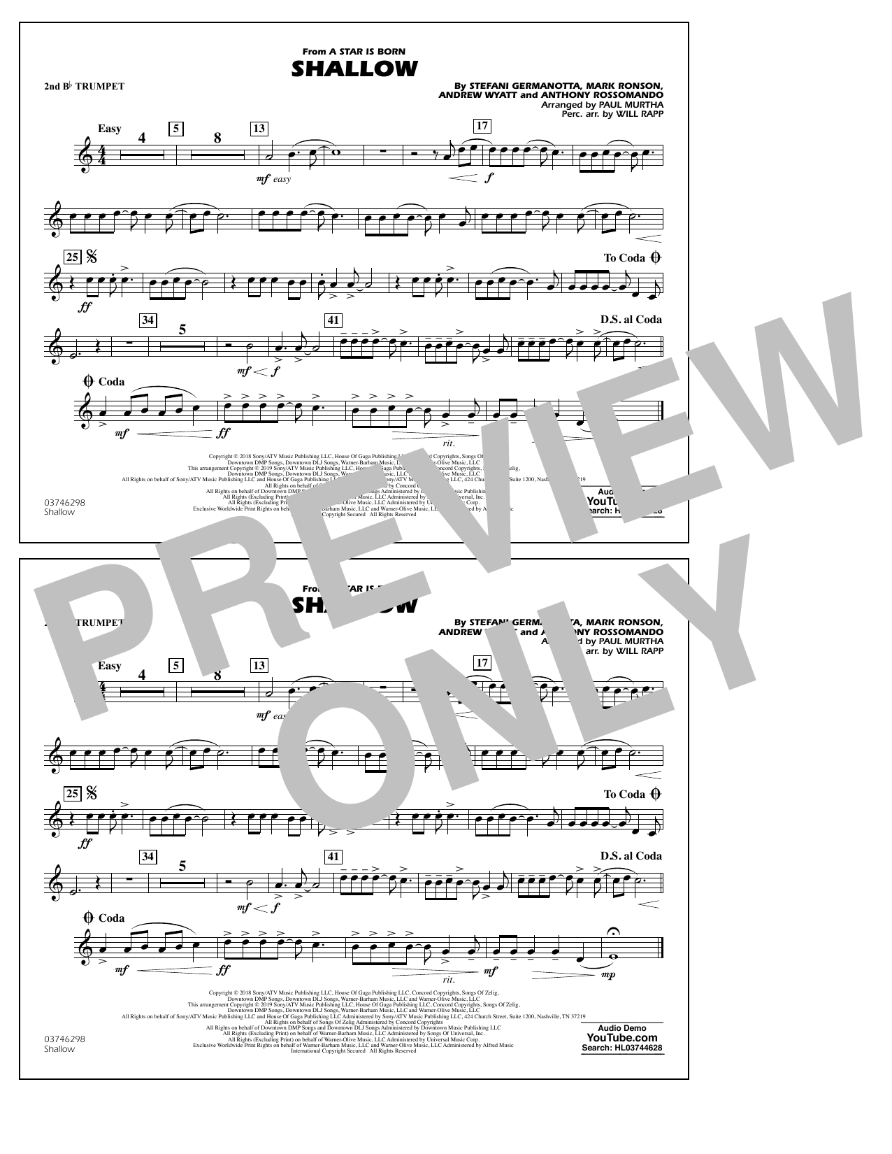 Shallow (from A Star Is Born) (arr. Paul Murtha) - 2nd Bb Trumpet (Marching Band)