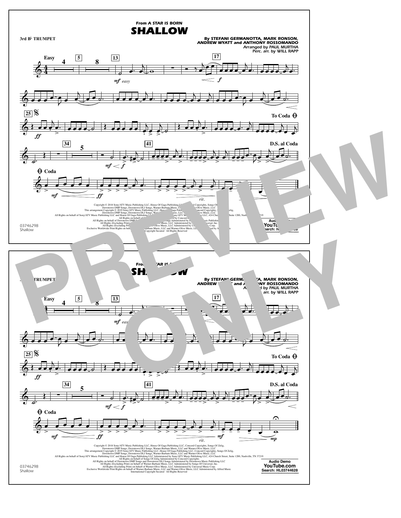 Shallow (from A Star Is Born) (arr. Paul Murtha) - 3rd Bb Trumpet (Marching Band)