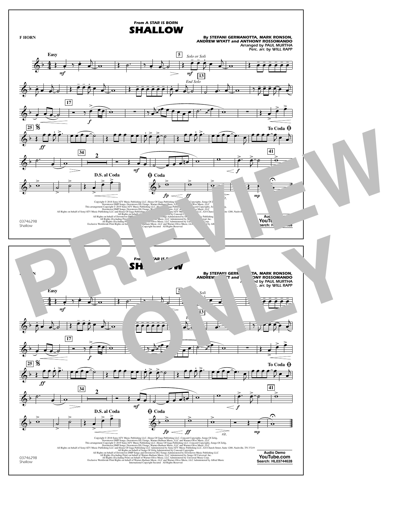 Shallow (from A Star Is Born) (arr. Paul Murtha) - F Horn (Marching Band)