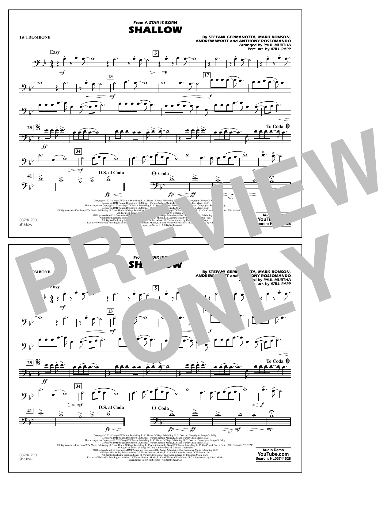 Shallow (from A Star Is Born) (arr. Paul Murtha) - 1st Trombone (Marching Band)